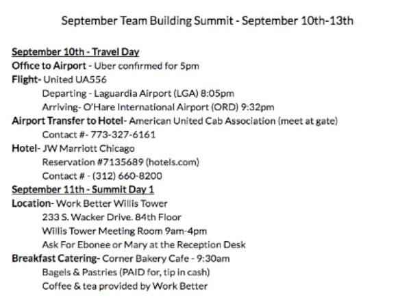 Sample Travel Summary / Itinerary